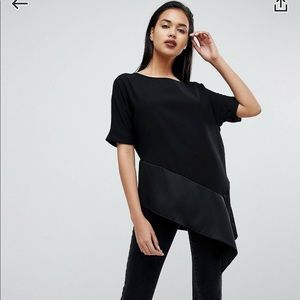 asos river island black tapered satin top